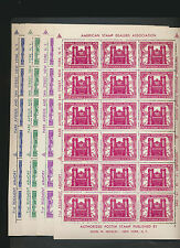 1st ASDA 1949 Stamp Show Poster Stamp Set by Nicklin Full Mint NH Sheets of 18