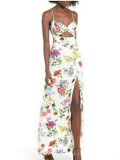 AFRM Size L Marie Twisted Knot Front Maxi Dress Floral Pattern White Blue Party