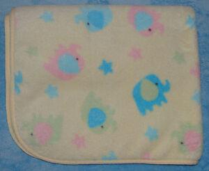 Koala Baby Yellow Soft Fleece Blanket Blue Green Pink Elephants Stars