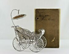 Antique Victorian White Metal Lead Baby Carriage with Umbrella in Original Box