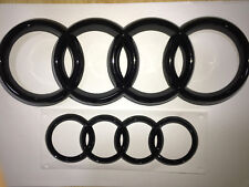 Set of Front and Rear Gloss Black Badge For Audi A3 A4 S3 S4 RS3 RS4 2013 -2017