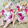 Newborn Baby Girls Clothes Summer Jumpsuit Romper Bodysuit+Headband Outfit Set
