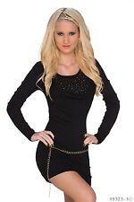 Kleid Minikleid Longpullover Pullover Nieten Wasserfall Gürtel Schwarz 34 36 38
