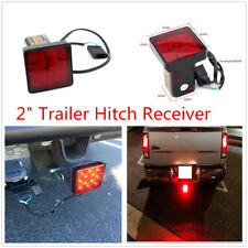 "12 LED Truck Tail Brake Light Tow Bar Lamp Red For 2"" Trailer Hitch Cover Mount"