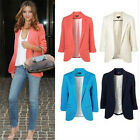 New Womens Color Blazer Jacket Suit Work Casual Slim Basic Long Sleeve Outwear
