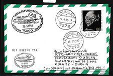 78466) LH FF Köln - Dublin Irland 29.3.92, Karte FDC 1601 Adenauer