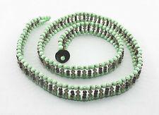 Green & Purple Cat's-Eye Beaded Safety Pin Belt, 90cm