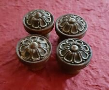 Antique Wood Drawer Pulls Knobs Set 4 Salvaged Flowers