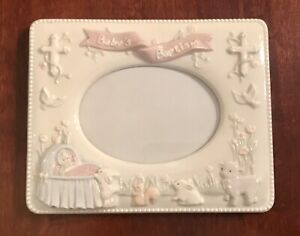 """Vintage Russ Berrie Baby's Baptism Porcelain 4x6"""" Photo Frame Pink/Girl PreOwned"""