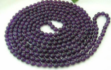 NWE 8mm Russican Amethyst Round Bead Gemstone Necklace 50""