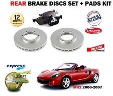 FOR TOYOTA MR2 S IMPORT 1.8i VVTi 2000-2007 REAR BRAKE DISCS SET + DISC PADS KIT
