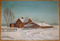 WINTER SNOW FARM HOUSE LANDSCAPE BARN STABLE DISTRESSED FOLK ART OLD PAINTING