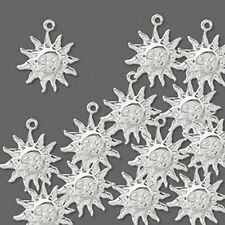 Sun Charms Silver Pressed Metal Jewelry Scrapbooking Lot of 30