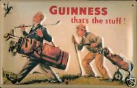 Guinness Golfers embossed steel sign (hi 3020) REDUCED TO CLEAR+++++++++++++++