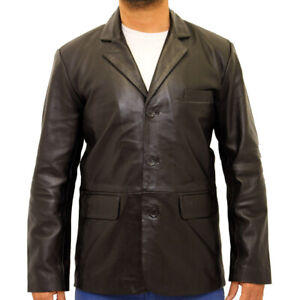 Mens Collared Tailored Cut Fitted Three Button Leather Blazer in Black & Tan