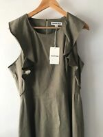 COUNTRY ROAD : NEW! SZ 12,16 [CR LOVE] ruffle neck dress - khaki green M,XL