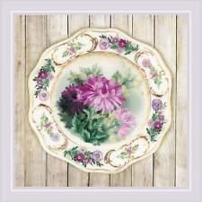 Satin Stitch Kit RIOLIS 0076 PT- Plate with Chrysanthemums. satin STITCH