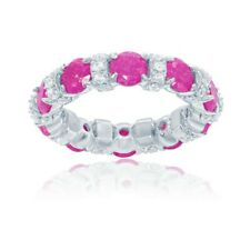 Sterling Silver CZ and Lt. Pink Ice Eternity Ring, Size 8