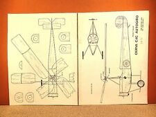 PEANUT SCALE CIERVA C.6C AUTOGIRO FLYING MODEL AIRPLANE PLAN 12.5""