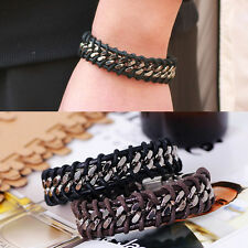 Braided Leather Cuff Bangle Wristband Men Fashion Stainless Steel Bracelet Chain