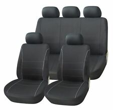 PEUGEOT 407 ALL MODELS BLACK SEAT COVERS WITH GREY PIPING