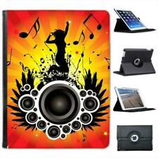 Jumping Woman Speakers With Music Note Folio Leather Case For iPad 2, 3 & 4