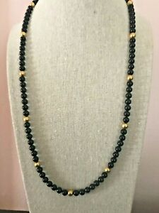 Vintage Trifari Black & Gold Bead Necklace 24 Inches