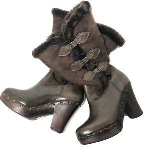 Frye 8.5 Heeled Fur Buckle Boots