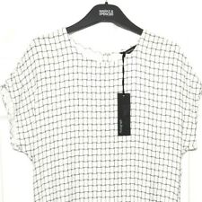 M&S Marks £59 s10 Autograph Luxe Black White Check Peplum Hem Shift Dress BNWT