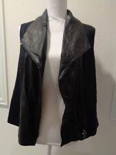 Vince Women's Black Vest Leather Linen Asymmetrical Front Zip SZ L-EUC