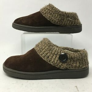 Clarks Womens 8 Knit Scuff Mule Slippers Comfort Shoes Brown Suede Casual Fur