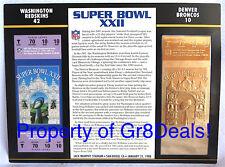 SUPER BOWL 22 ~ REDSKINS BRONCOS ~ NFL 22 KT GOLD SB XXII TICKET Willabee & Ward