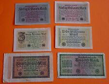 6 BANKNOTEN / INFLATIONS - GELDSCHEINE / REICHSBANK / WEIMARER REPUBLIK / Pack 5