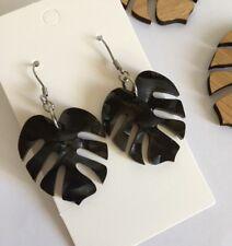 Monstera Leaf Earrings, Black Pearl Shimmer Acrylic, Surgical Hooks, Tropical