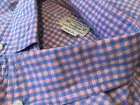 J Crew Ginham Mens Shirt Large Blue/Pink Check