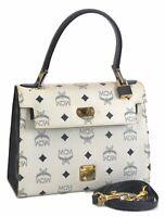 Authentic MCM Leather Vintage Shoulder Hand Bag 2Way White Navy Blue B8267