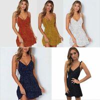 Women Summer Mini Dress Sleeveless Casual Party Holiday Strap Sundress Plus Size