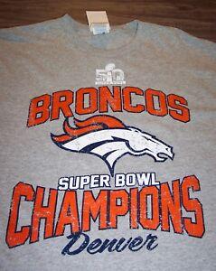 DENVER BRONCOS SUPER BOWL 50 NFL CHAMPIONS FOOTBALL T-Shirt LARGE NEW w/ TAG