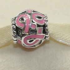 New Authentic Pandora Charm Cancer Pink Ribbon 790755EN24 W Tag & Suede Pouch