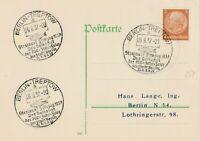 Postkarte mit drei Sonderstempeln Berlin-Treptow 26.8.1937 Volksfest 700 Jahre
