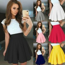 Casual Women Party Cocktail A-Line Pleated Mini Skirt Solid Summer Skater Skirts