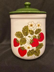 """Vintage - McCoy Pottery - Medium Strawberry Canister - Approx 9"""" Tall"""