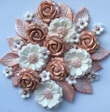 ROSE GOLD  BOUQET Edible Sugar Paste Flower Cake Decorations