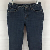 St. John's Bay womens size 10S stretch blue dark wash mid rise straight jean EUC