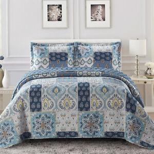 Luxury Modern Bellflower Oversized Bedspread Coverlet Set Reversible Bed Quilt