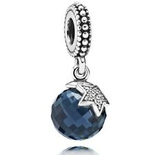 Authentic Pandora Midnight Blue Moon & Star Dangle Silver Charm 791392NBC