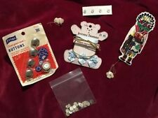 Vintage Sewing Odds & Ends Buttons Ribon Patch