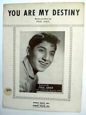 PAUL ANKA Sheet Music YOU ARE MY DESTINY R. Mellin Publ. 50's POP Rock VOCAL
