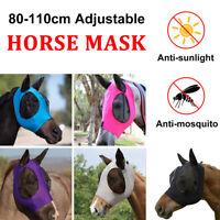 Einstellbar Pferd Fliegenmaske Fliegenschutzmaske Ohrenschutz Pferdemaske