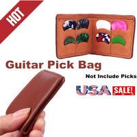 Guitar Picks Holder Leather Plectrums Bag Package Guitar Pick StorageBag Wallet*